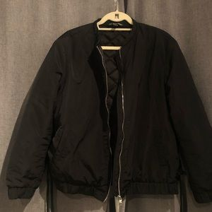Zara Black Bomber Ribbon Lace Up. Size XL